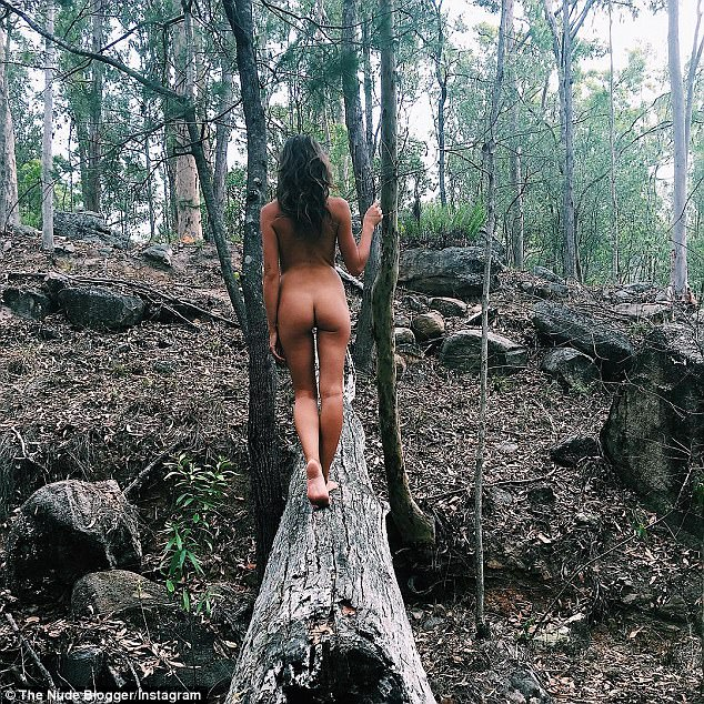 Family nudism in the woods